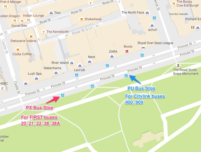 Princes Street Bus Stops PX and PU for Edinburgh Festival Camping